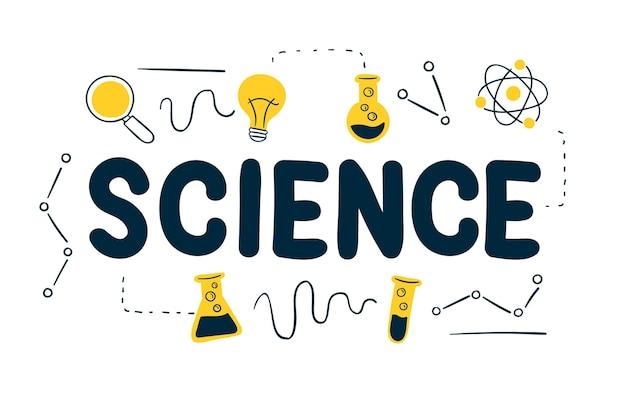 Conceito de trabalho de ciência com objetos e moléculas de laboratórios