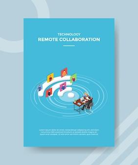 Conceito de trabalho de colaboração remota para banner e folheto de modelo