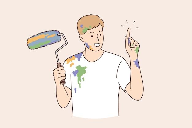 Conceito de trabalho de construtor de decorador de pintor profissional