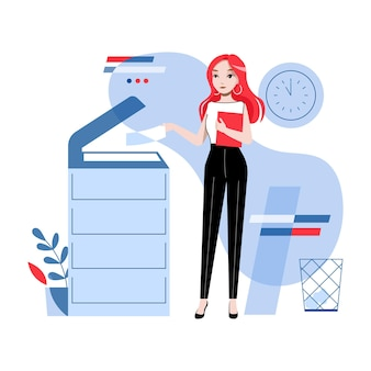 Conceito de trabalho de escritório. young pretty girl está trabalhando no escritório, copiando e digitalizando documentos, enviando fax. mulher de negócios está usando copiadora