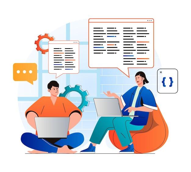 Conceito de trabalho de programação em design plano moderno. equipe de desenvolvedores cria brainstorming de software