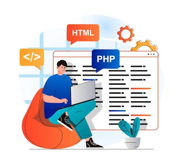 Conceito de trabalho de programação em design plano moderno. programas de desenvolvedor em linguagens html e php