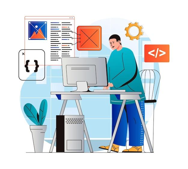 Conceito de trabalho de programação em programas de desenvolvedor de design plano moderno em diferentes linguagens