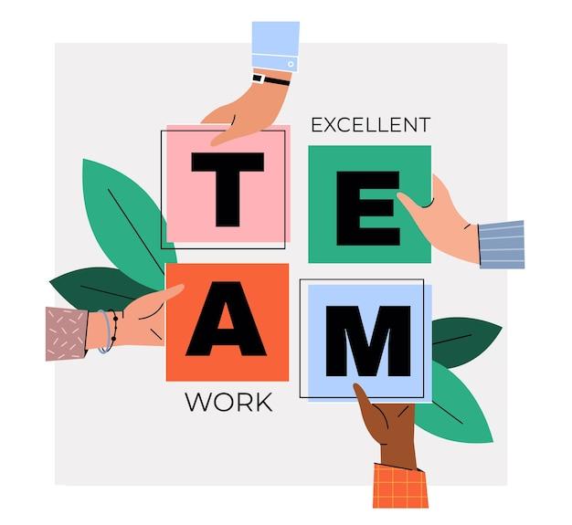 Conceito de trabalho em equipe. as mãos das pessoas combinam os cartões com as letras em uma palavra.