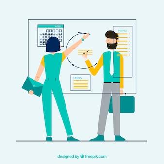 Conceito de trabalho em equipe com apresentação de negócios