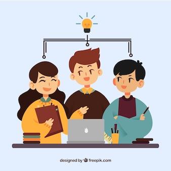 Conceito de trabalho em equipe com design plano