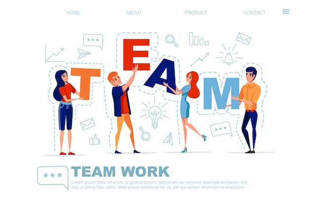 Conceito de trabalho em equipe com homem e mulher segurando letras equipe com ícone na ilustração vetorial de fundo