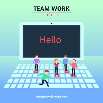 Conceito de trabalho em equipe com laptop e personagens