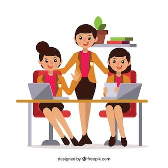 Conceito de trabalho em equipe com mulheres