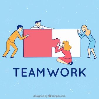 Conceito de trabalho em equipe com peças de quebra-cabeça