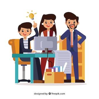 Conceito de trabalho em equipe com pessoas de negócios