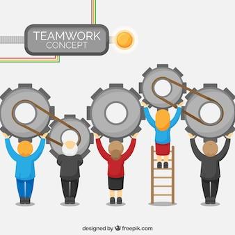 Conceito de trabalho em equipe com pessoas e parafusos