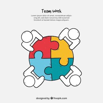 Conceito de trabalho em equipe com quebra-cabeça