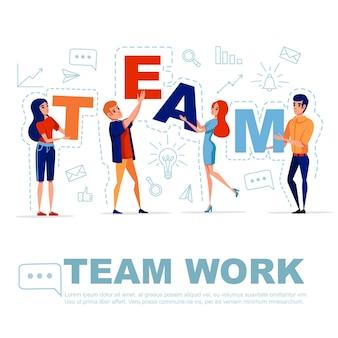 Conceito de trabalho em equipe com um homem e uma mulher segurando as letras equipe com o ícone no fundo