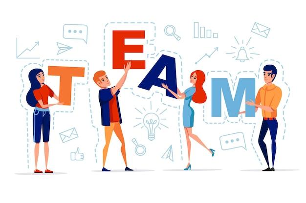 Conceito de trabalho em equipe com um homem e uma mulher segurando as letras ícone de equipe na ilustração vetorial de fundo