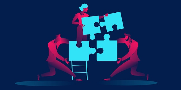 Conceito de trabalho em equipe, cooperação, parceria