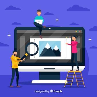 Conceito de trabalho em equipe de design gráfico ilustração