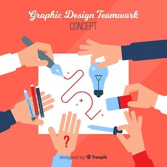 Conceito de trabalho em equipe de design gráfico