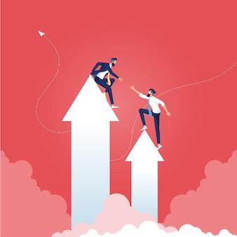 Conceito de trabalho em equipe de negócios - ajudando uns aos outros a escalar a flecha do sucesso