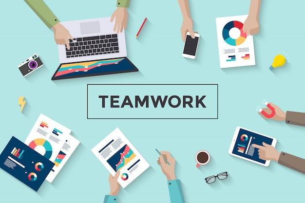 Conceito de trabalho em equipe de negócios, carnes e planejamento de pessoas