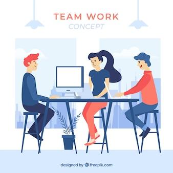 Conceito de trabalho em equipe de negócios com design plano