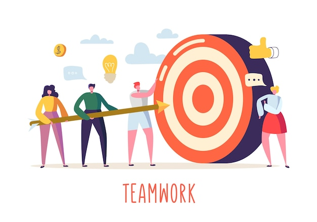 Conceito de trabalho em equipe de negócios com personagens planas e alvo