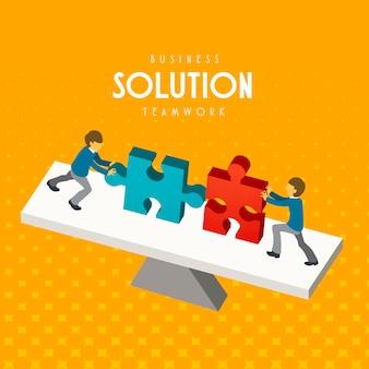 Conceito de trabalho em equipe de negócios em design plano 3d isométrico