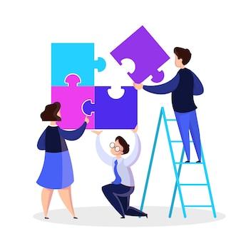 Conceito de trabalho em equipe de negócios. ideia de parceria e cooperação