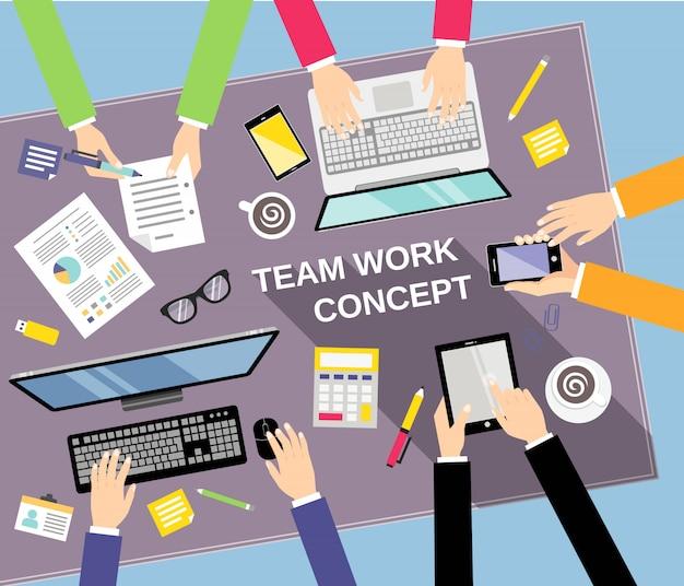 Conceito de trabalho em equipe de negócios