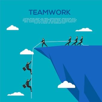 Conceito de trabalho em equipe do empresário ajudando uns aos outros