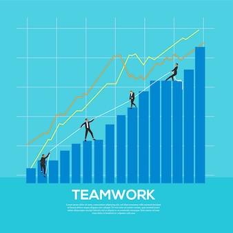 Conceito de trabalho em equipe do empresário com gráfico