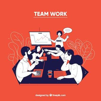Conceito de trabalho em equipe empresarial