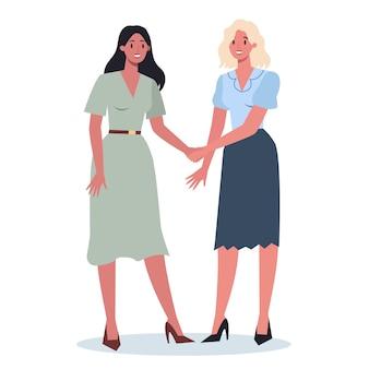 Conceito de trabalho em equipe. executivos, apertando as mãos. ideia de empresários trabalhando juntos e caminhando para o sucesso. parceria e colaboração.