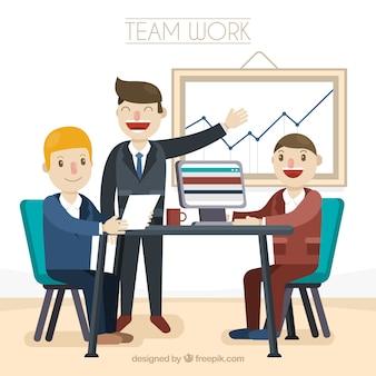 Conceito de trabalho em equipe feliz