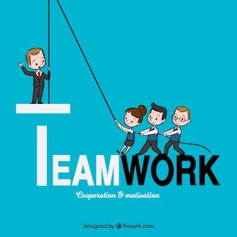 Conceito de trabalho em equipe mão desenhada