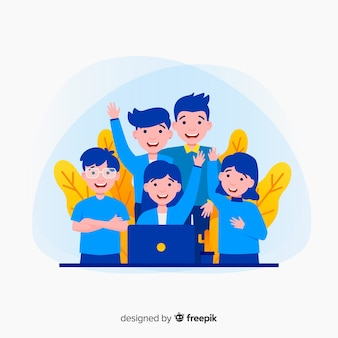 Conceito de trabalho em equipe para a página de destino