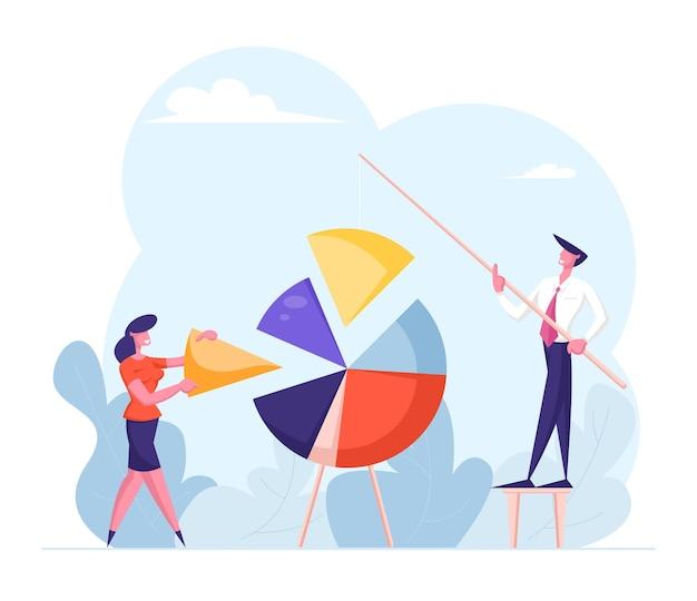 Conceito de trabalho em equipe. personagens de empresários montam gráfico de pizza enorme