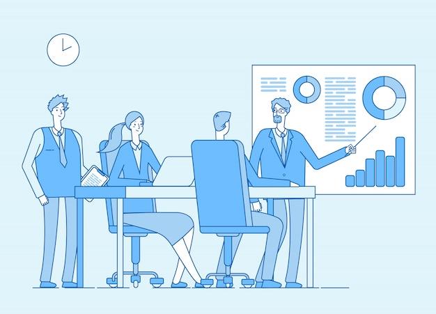 Conceito de trabalho em equipe. pessoas de negócios do escritório corporativo, profissional trabalhando com amigos. colaboração, planejamento. infográfico de linha