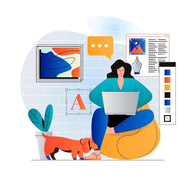 Conceito de trabalho freelance em design moderno plano mulher designer está trabalhando em um projeto criativo
