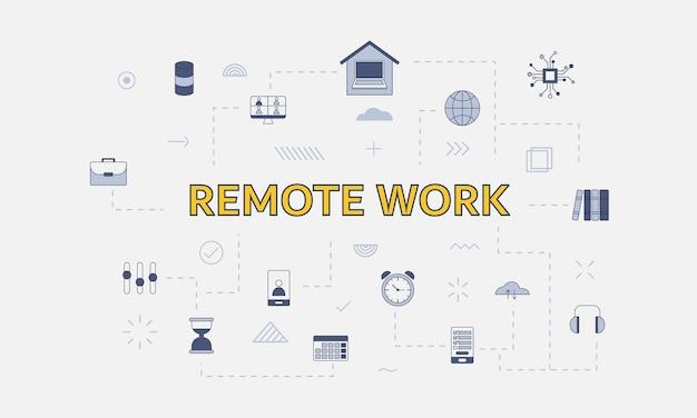 Conceito de trabalho remoto com conjunto de ícones com grande palavra ou texto na ilustração vetorial central