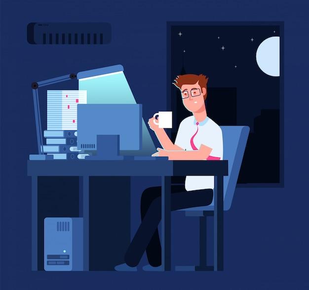 Conceito de trabalho tarde homem à noite no escritório com pilha de papel e computador portátil