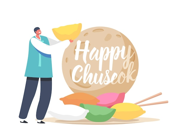 Conceito de tradição coreana chuseok tteok. pequeno personagem asiático feliz vestindo traje tradicional segurando bolo de arroz songpyeon perto da lua
