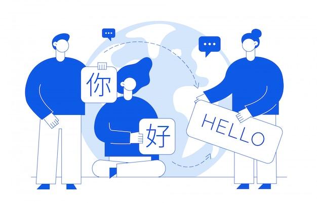 Conceito de tradução com as pessoas
