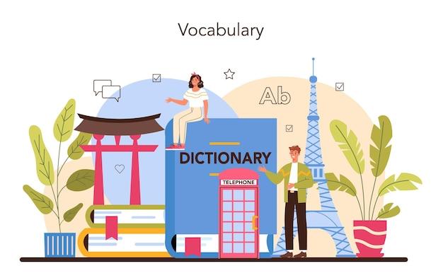 Conceito de tradutor. lingüista traduzindo documentos, livros e discursos.