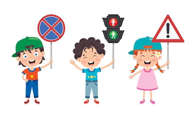 Conceito de tráfego com personagens engraçados