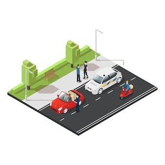 Conceito de tráfego isométrico colorido