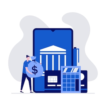 Conceito de transação financeira e pagamento móvel com personagens em pé perto de smartphone e cartão de crédito.