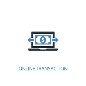 Conceito de transação online 2 ícone colorido. ilustração do elemento azul simples. projeto de símbolo de conceito de transação online. pode ser usado para ui / ux da web e móvel