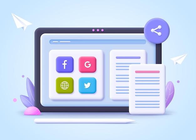 Conceito de transferência de arquivos. compartilhamento de arquivos. tecnologia de nuvem online, rede social. ilustração 3d.