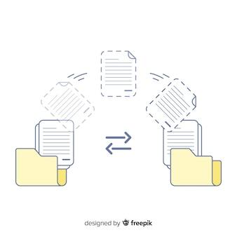 Conceito de transferência de arquivos para landing page